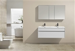 "Fitto 48"" Double Sink High Gloss White Wall Mount Modern Bathroom Vanity"