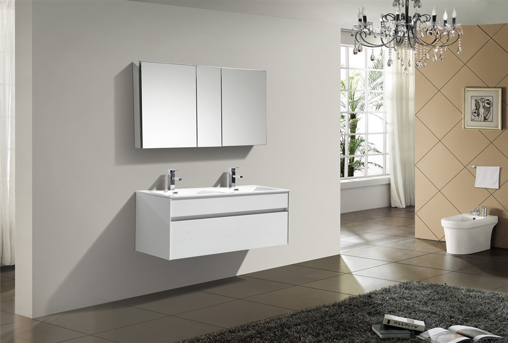 Fitto 48 Quot Double Sink High Gloss White Wall Mount Modern