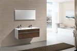 "Fitto 48"" Double Sink Rosewood Wall Mount Modern Bathroom Vanity"