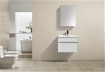 "Fitto 24"" Gloss White Wall Mount Modern Bathroom Vanity"