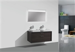 "Tucci 48"" Dark Gray Oak Wall Mount Double Sink Modern Bathroom Vanity w/ Vessel Sink"