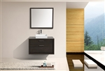 "Tucci 36"" Gray Oak Wall Mount Modern Bathroom Vanity w/ Vessel Sink"