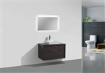 "Tucci 36"" Dark Gray Oak Wood Wall Mount Modern Bathroom Vanity w/ Vessel Sink"