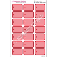 Round Corner Half Box Icons - Red Medical Set - Set of 21