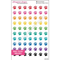 Paw Print Cutout Icons - Bold Rainbow - Set of 70