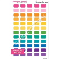 Small Stitched Rectangle Stickers - Bold Rainbow - Set of 60
