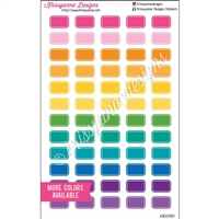 Small Lined Rectangle Stickers - Bold Rainbow - Set of 60