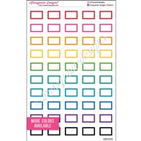 Small Square-Corner Rectangle Stickers with Outline - Set of 50