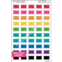 Small Square-Corner Rectangle Stickers - Lined Bold Rainbow - Set of 50