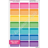 Square Corner Color Block Half Box Checklist - Rainbow with Overlay - Set of 21