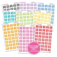 Monochrome Number Flag Bundle - Pastel Rainbow