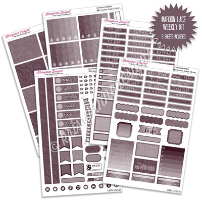 KAD Weekly Planner Kit - Maroon Lace