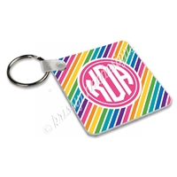 Small Keychain - Rainbow Stripe Monogram