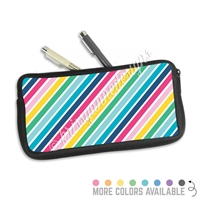 One Sided Zippered Pen Pouch - Rainbow Stripes