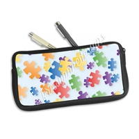One Sided Zippered Pen Pouch - Puzzle Pieces
