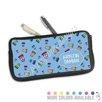 One Sided Zippered Pen Pouch - Coffee Doodles