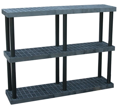 "Three Shelf Grid Top Plastic Shelving, 16"" x 66"" Shelf"