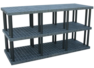 "Three Shelf Grid Top Plastic Shelving, 36"" x 96"" Shelf"