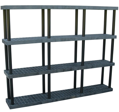 "Four Shelf Grid Top Plastic Shelving, 16"" x 96"" Shelf"