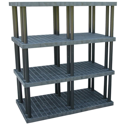 "Four Shelf Grid Top Plastic Shelving, 36"" x 66"" Shelf"
