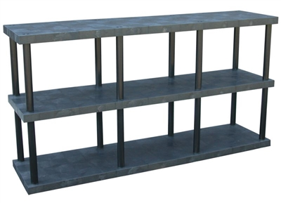 "Three Shelf Solid Top Plastic Shelving, 24"" x 96"" Shelf"