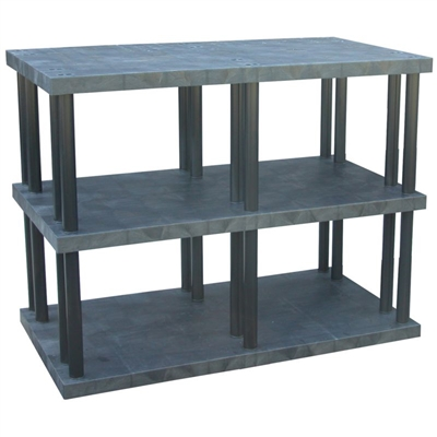 "Three Shelf Solid Top Plastic Shelving, 36"" x 66"" Shelf"