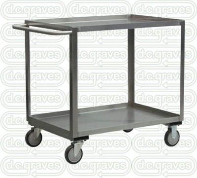 "XB19 - Stainless Steel Two Shelf Cart - 24"" x 48"" Shelf Size"