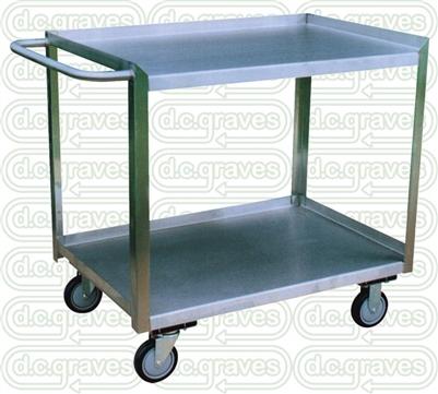 "XK13 - Stainless Flush Edge Two Shelf Cart - 18"" x 36"" Shelf Size"
