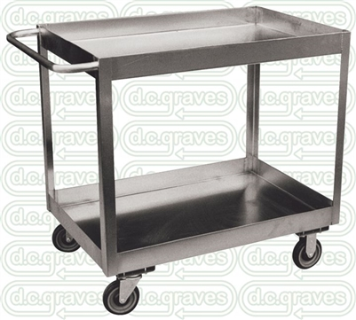 "XZ17 - Two Shelf Stainless Steel Cart w/ 3"" Deep Lips - 24"" x 36"" Shelf Size"