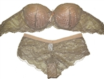 Double Padded Strapless Lace Bra & Panty Set