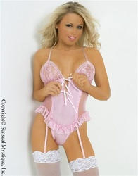 Sheer chemise with lace embroidered edges and matching g-string