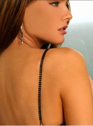 Jewelry Bra Straps, Double Row Black Crystal Bra Straps