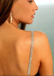 Jewelry Bra Straps, Four Row Crystal Bra Straps