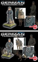 German Feldgendarmerie with German Shepherd - Two Soldiers and 2 Dogs