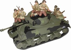US M4A3 Sherman Medium Tank with 6 Figures - 3rd Armored Division, France, 1944