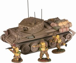 British Cromwell Mk. VI Tank with 3 Paratroopers - Normandy, 1944