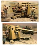 German 88mm Gun Crew 4-Figure Set - Deutsches Afrika Korps