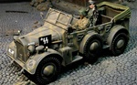German Horch Command Car with Driver and Wilhelm Bittrich, 1.SS Leibstandarte Panzer Division LSSAH