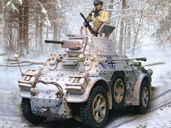 German AB 43 Armored Car with 3 Figures - Battle of the Bulge, 1944