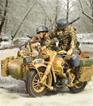 Fallschirmjager BMW R75 Motorcycle Team - Two Figures, 6.Fallschirmjager Regiment, Carentan, France, 1944