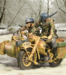 SS Fallschirmjager BMW R75 Motorcycle Team - Two Figures, Battle of the Bulge, 1944