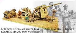 German 88mm Flak 36/37 Anti-Aircraft Gun with Trailer - Deutsches Afrika Korps, North Africa, 1942 [Comes with Seven Crewmen and Rommel]