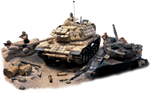 USMC M60 A1 Patton Medium Tank with Reactive Armor Diorama: 4th Marine Division, Kuwait, 1991