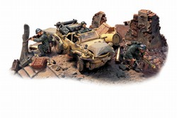German VW-166 Schwimmwagen Diorama - 716.Infanterie Division, Retreat from Malmedy, Normandy, 1944