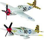 USAAF P47D Thunderbolt, Lt. Warren Penny, 317th Fighter Squadron, 325th Fighter Group, March 1944, & P-51B Mustang, Capt. Robert Barkey, 319th Fighter Squadron, 325th Fighter Group, July 1944 'The Checkertail Clan'