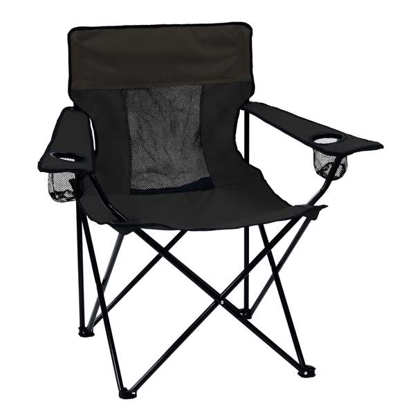 Plain Black Elite Chair Folding Tailgate Camping Chairs