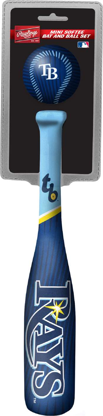 MLB Tampa Bay Rays Mini Slugger Mini Baseball Bat & Ball Set Lightweight 13? bat and 2? ball