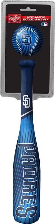 MLB San Diego Padres Mini Slugger Mini Bat & Ball Set Lightweight 13? bat and 2? ball