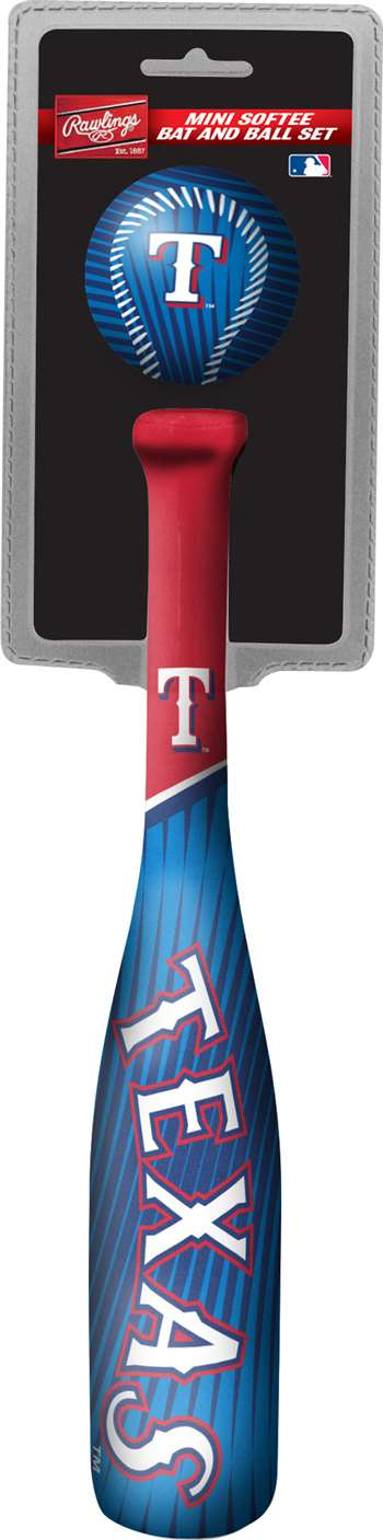 MLB Texas Rangers Mini Slugger Mini Bat & Ball Set Lightweight 13? bat and 2? ball