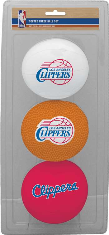 NBA Los Angeles Clippers Three Point Shot Softee Basketball 3-Ball Set
